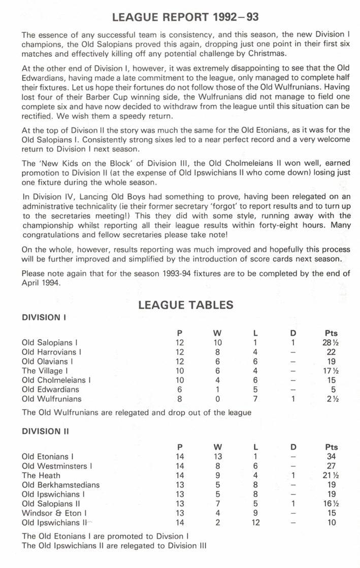 Efa league tables 1992 93 for Championship league table 99 00